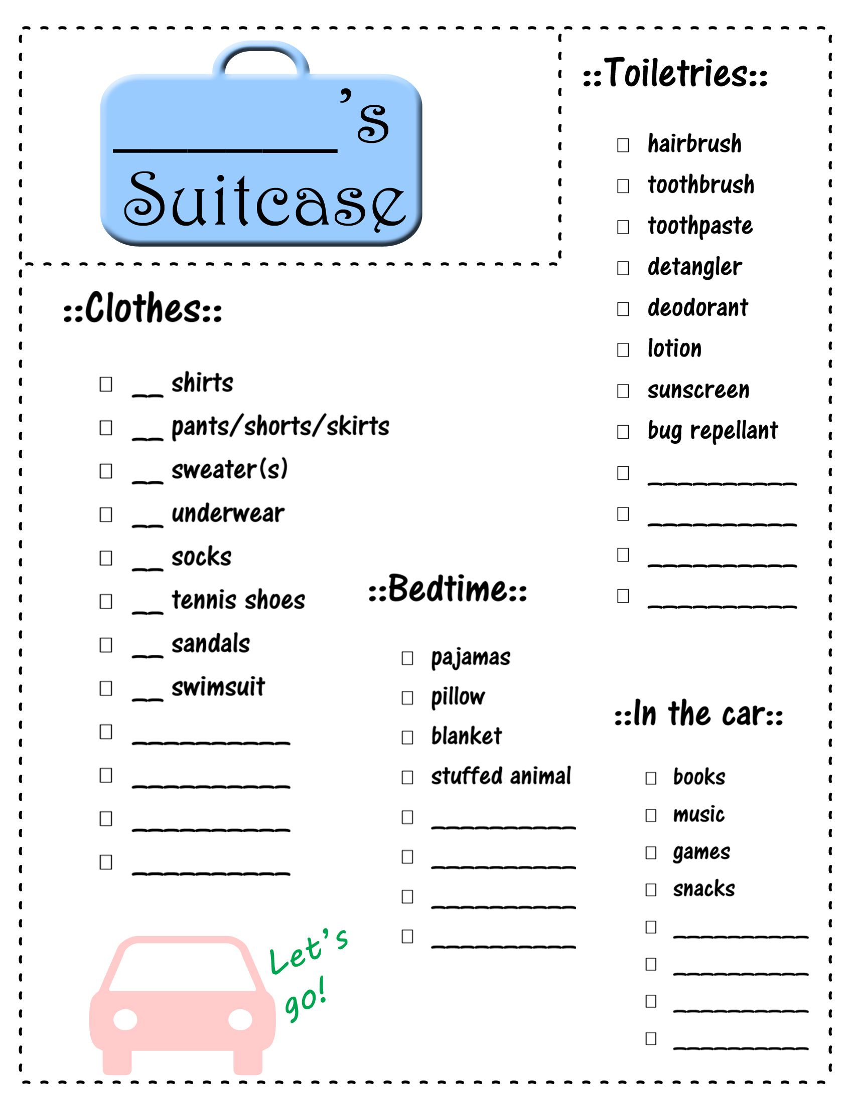 Printable Vacation Packing List For Kids