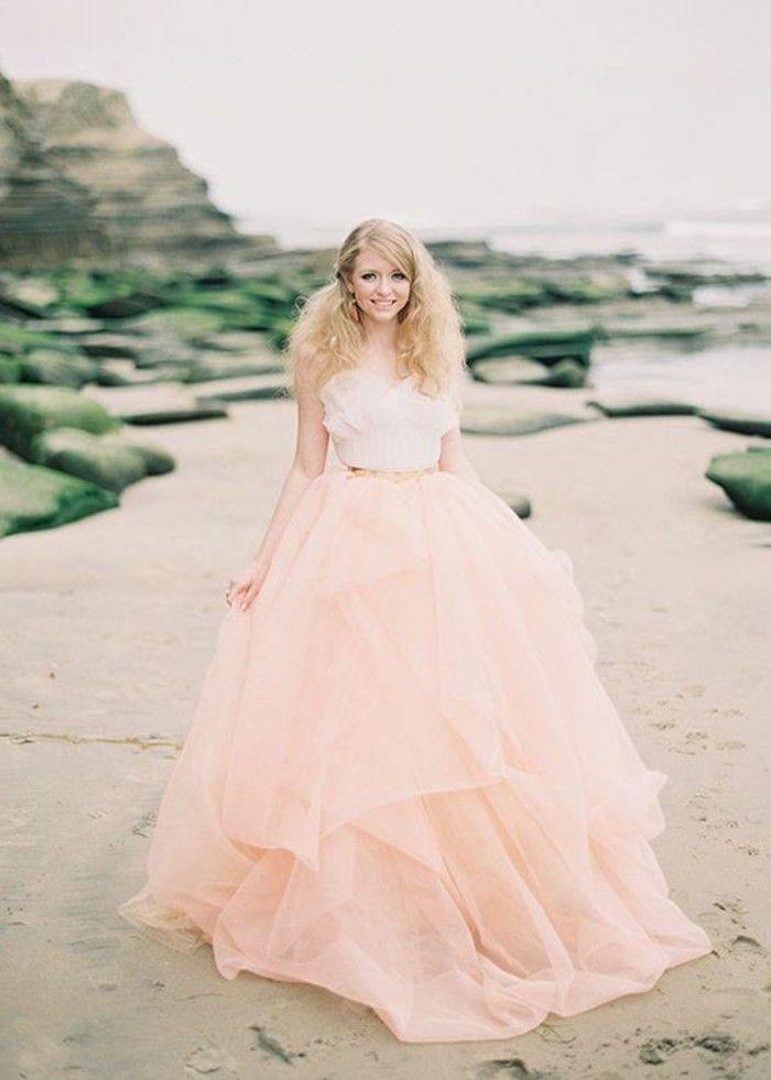 Rosa Brautkleid für einen glamourösen Hochzeits-Look | Brautkleid ...