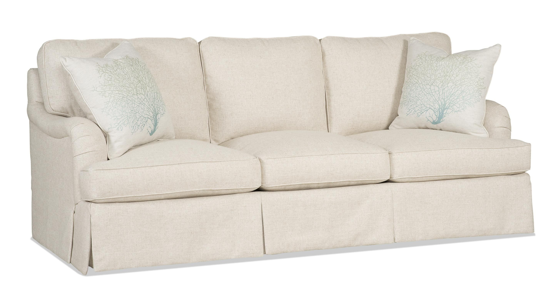 Traditional Skirted Sofa With English Arms