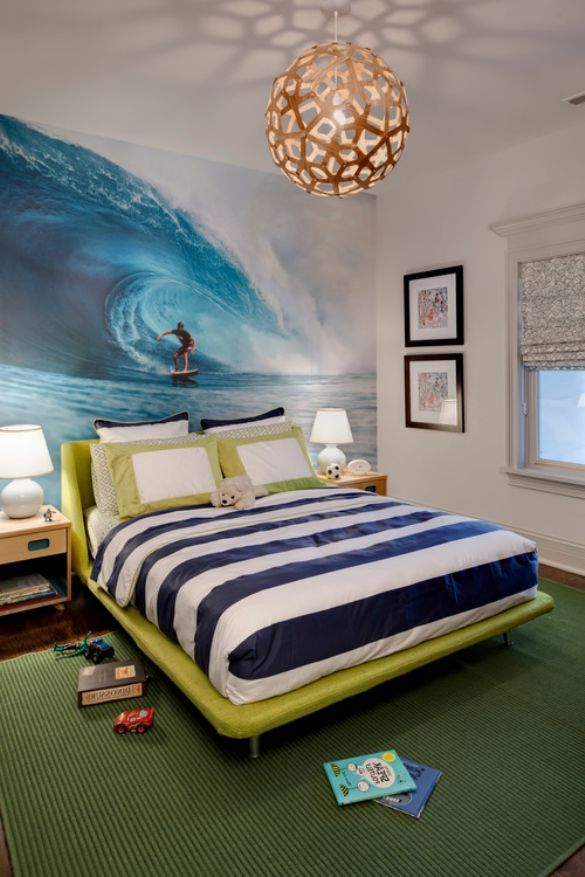 Amazing surf theme boys online cheap modern master bedroom for Surfing bedroom designs