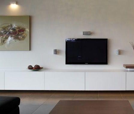 Tv Meubel Zwevend Wit.Zwevend Tv Meubel Op Maat Mat Wit Interieur Woonkamer Interieur