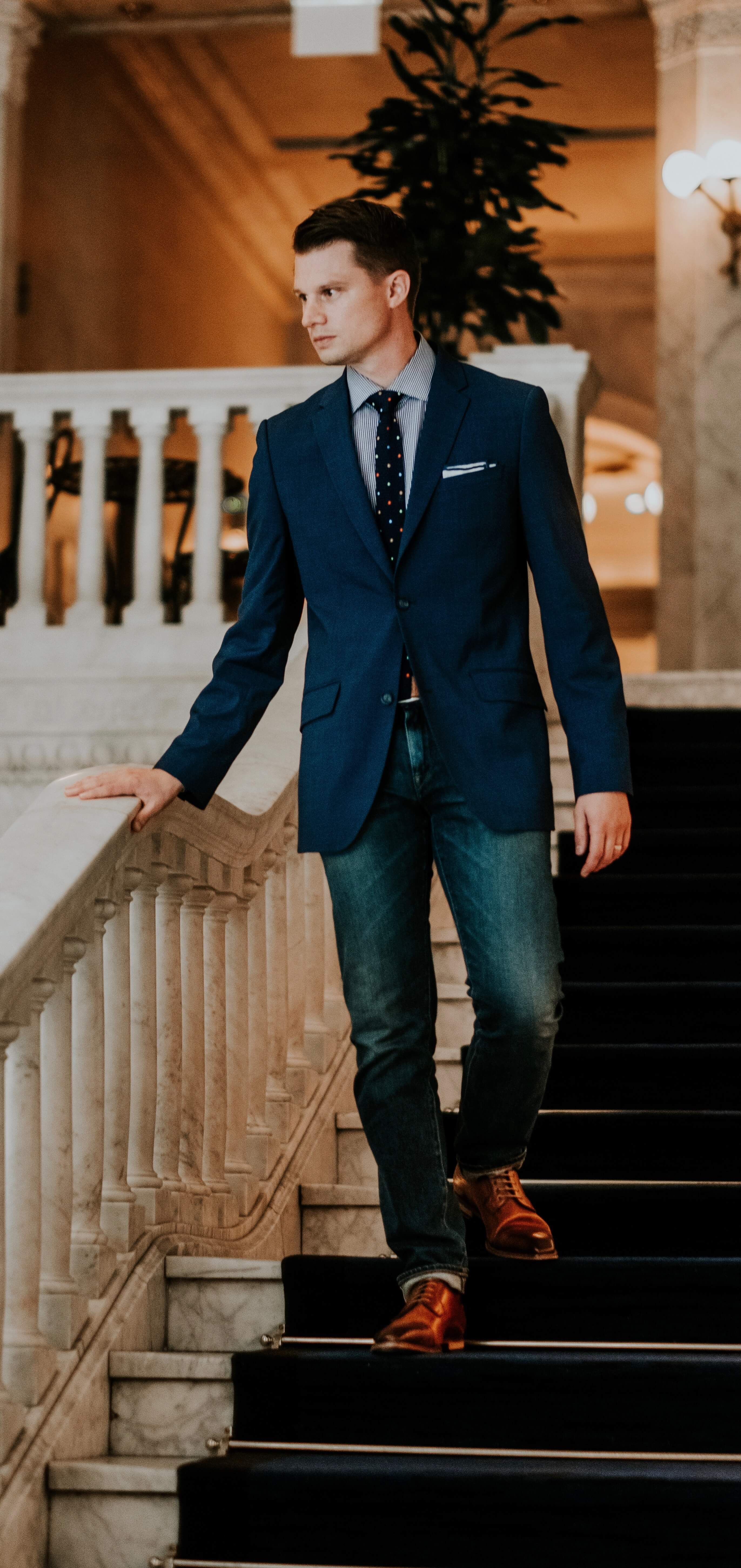f3b4dc7cbd2b Business casual inspiration with a navy blazer blue gingham shirt navy knit  tie navy lined linen
