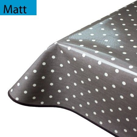 Extra Wide Oilcloth Tablecloth Slate Polka