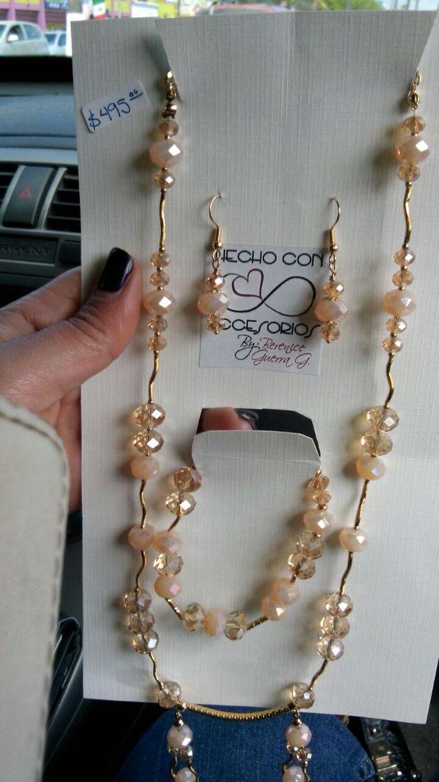 30f661489955 Juego Collar pulsera aretes ... Cristales y chapa oro