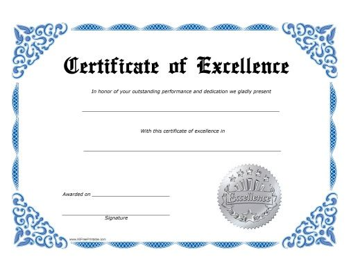 excellence certificate free printable allfreeprintable templates - certificate of excellence template word