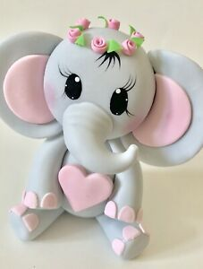 Details about Elephant With Flower Crown Wreath Cake Topper,Baby Shower,Party -   14 cake Decorating baby ideas