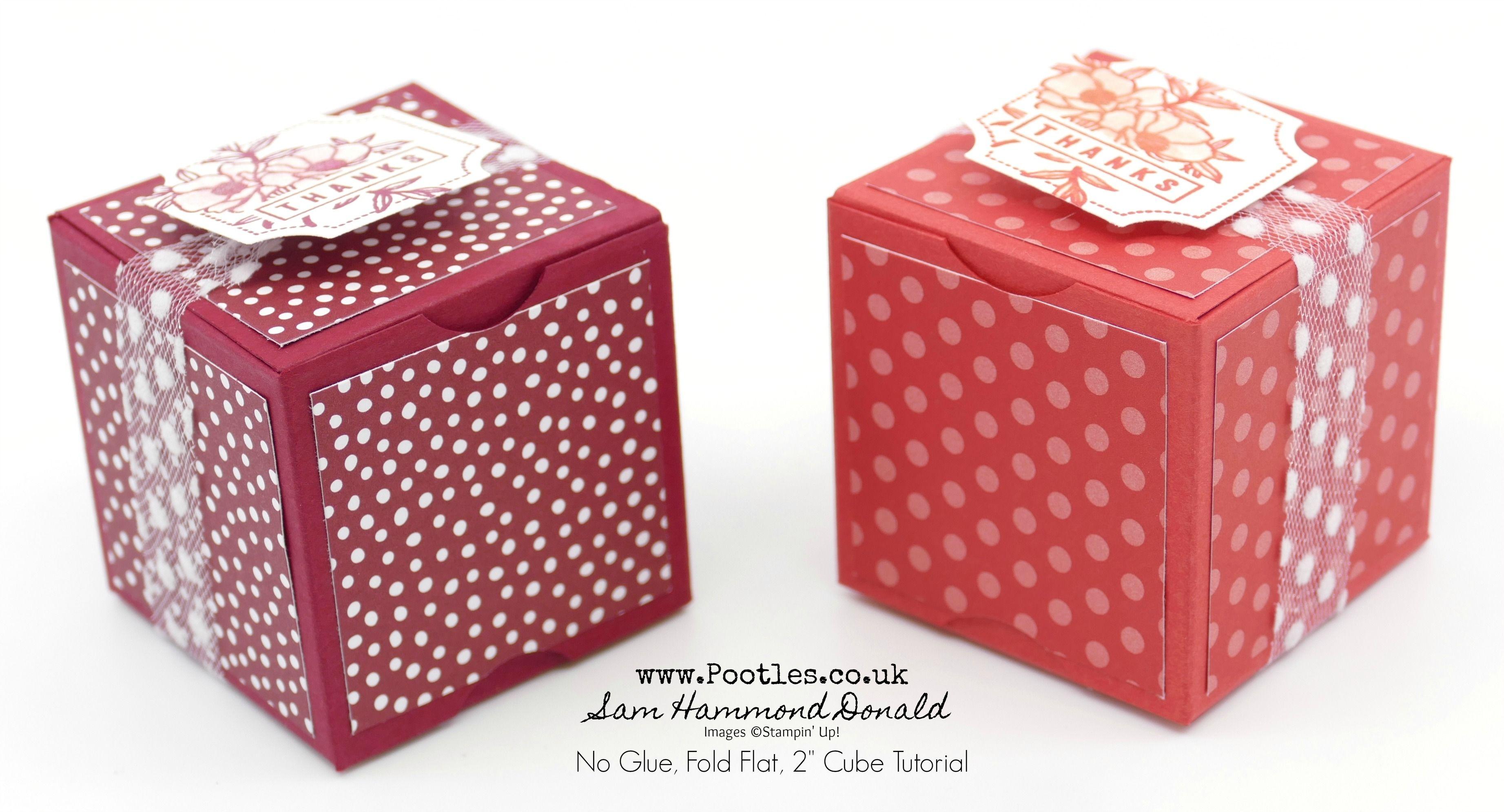 2 Inch Fold Flat No Glue Box Tutorial Scrapbook Box How To Make Box Treat Box Template