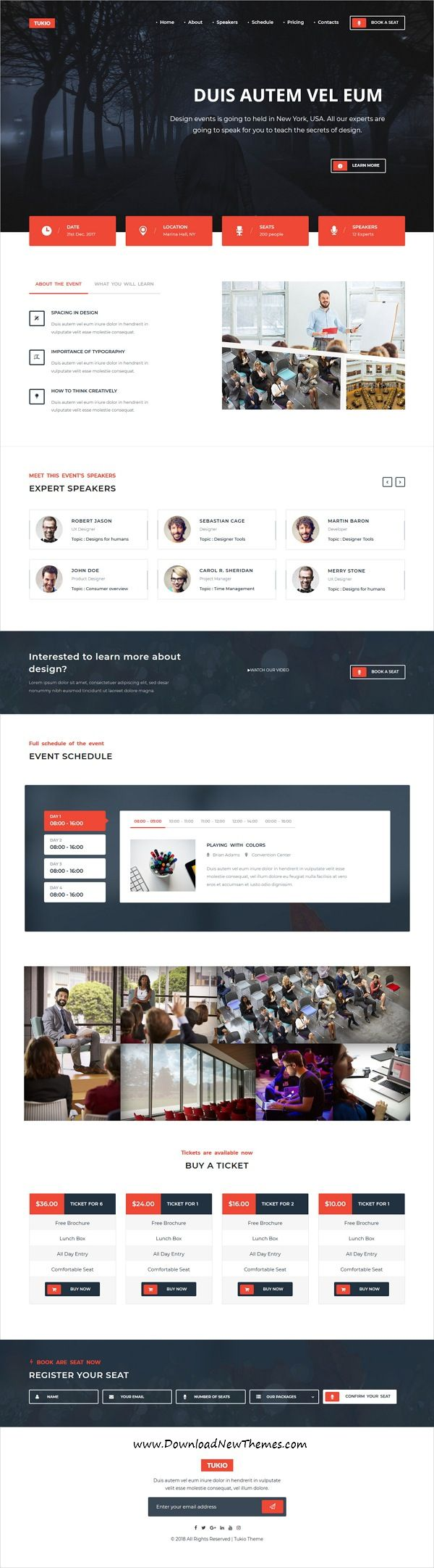 Tukio is clean and modern design 5in1 responsive WordPress #template for seminar, #conferences, event and #webinar website to live preview & download click on image or Visit #webdevelopment