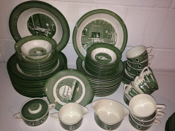 China Set Green Dinnerware Set Dishes Colonial Homestead Royal USA Country 1950 mid century Farm lot & China Set Green Dinnerware Set Dishes Colonial Homestead Royal USA ...