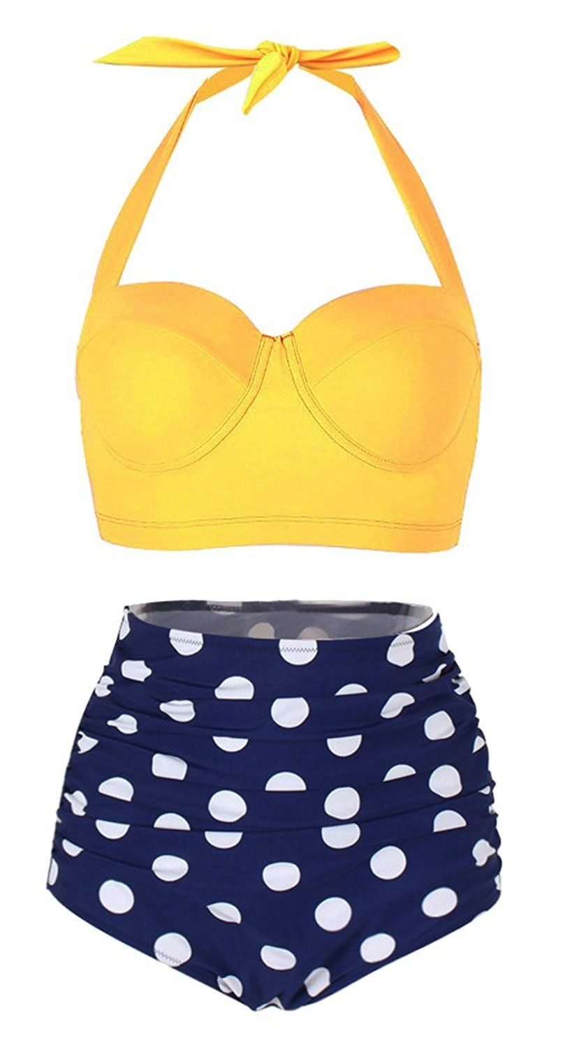1ab8a2fff0 Amazon.com: SHENGFAN Womens Vintage Underwire High Waisted Swimsuit  Two-Piece Bathing Suits Polka Dot Bikini: Clothing