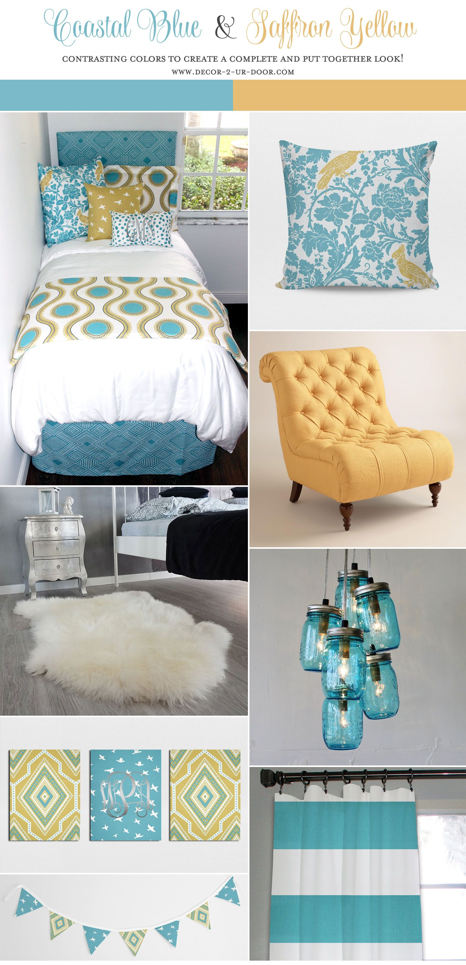 Yellow And Teal Dorm Room Inspiration Coastal Blue And Saffron