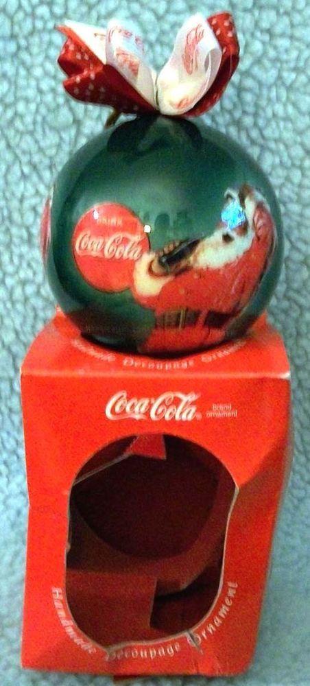 Enesco Coca Cola Handmade Decoupage Santa drinking Coke Christmas Ornament    A9 #CocaCola