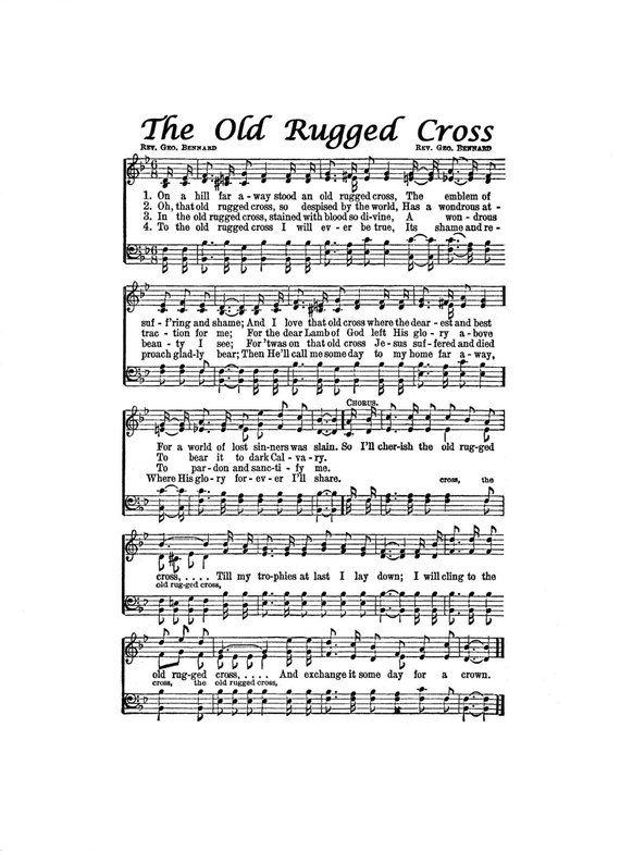 The Old Rugged Cross Hymn Digital Sheet Music Easter Inspirational Grace Art Gift Do