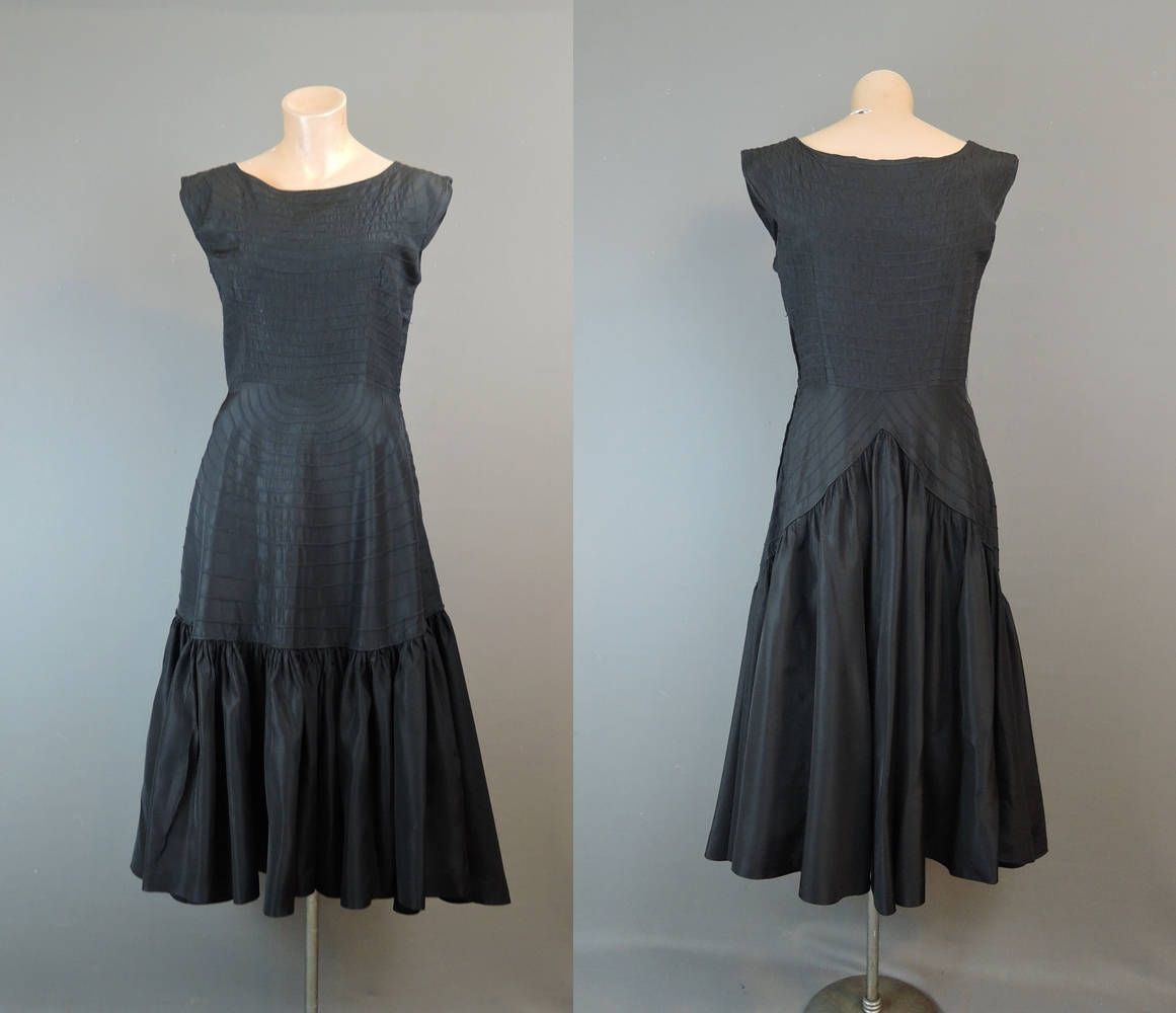 1950s Vintage Party Dress 36 bust, Pintucked Taffeta with Gathered ...