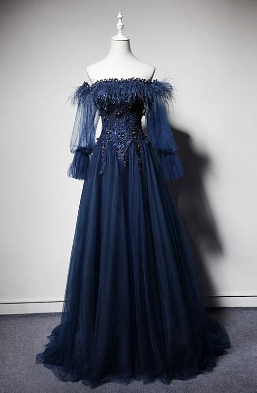 Navy Blue Tulle Lace Beading Off-Shoulder Formal Evening Dresses,Elegant Floor Length Appliques Long Sleeve Formal Prom Dresses.F411