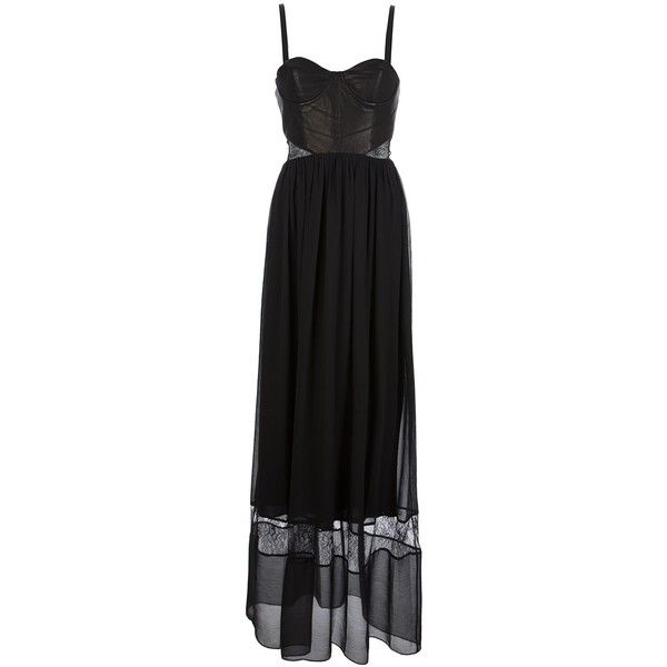 ALICE+OLIVIA leather bodice cut dress (775 AUD) ❤ liked on Polyvore featuring dresses, gowns, vestidos, black ball gown, leather gown, ruching dress, panel dress and black panel dress
