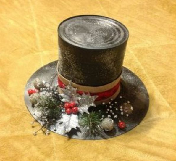 Frosty the snowman hat made from coffee can and for Christmas crafts out of tin cans