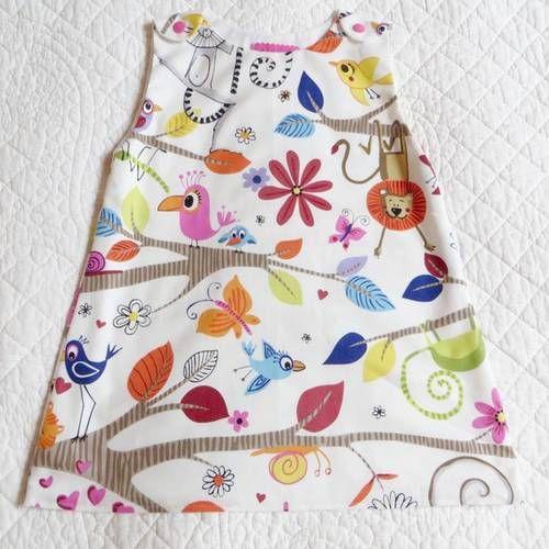6713730a30011 Robe tunique forme trapèze en tissu pur coton entièrement doublée