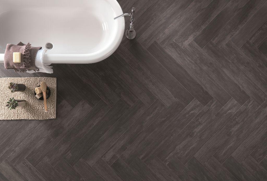 Vitage Noir floor tile meets white Bath. Found on tiledepot.co.nz