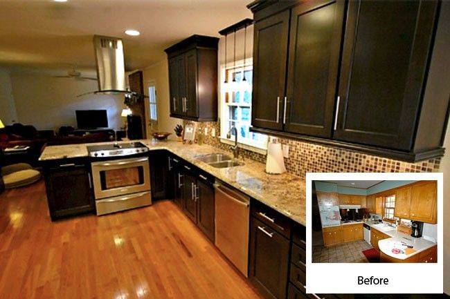Cabinet refacing costs about half of new quality custom for Refinishing kitchen cabinets before and after