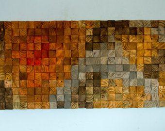 Arte escultura de madera mosaico arte geom trico de la - Mosaico de madera ...