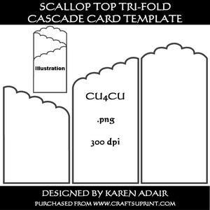 Scallop Top Tr Fold Cascade Card Template Tri Fold Cards Gatefold Cards Card Making Templates