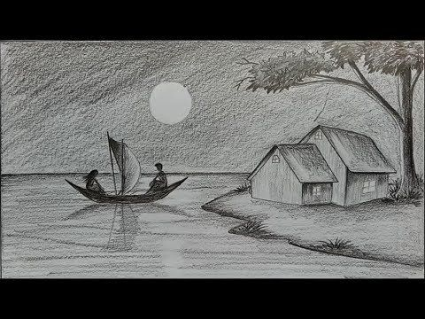 How to draw moonlit night with pencil step by step youtube