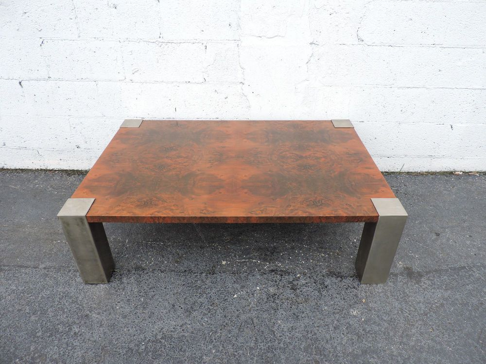 Vintage MCM coffee table with hollow metal legs eBay Furniture