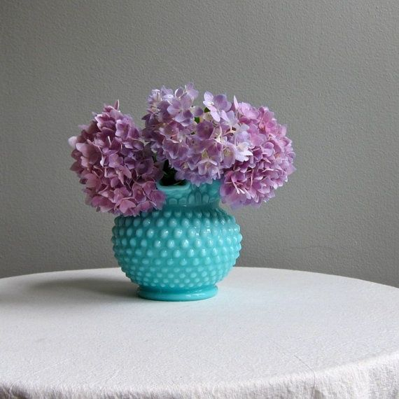 teal milk glass mixed with violet. gorgeous.