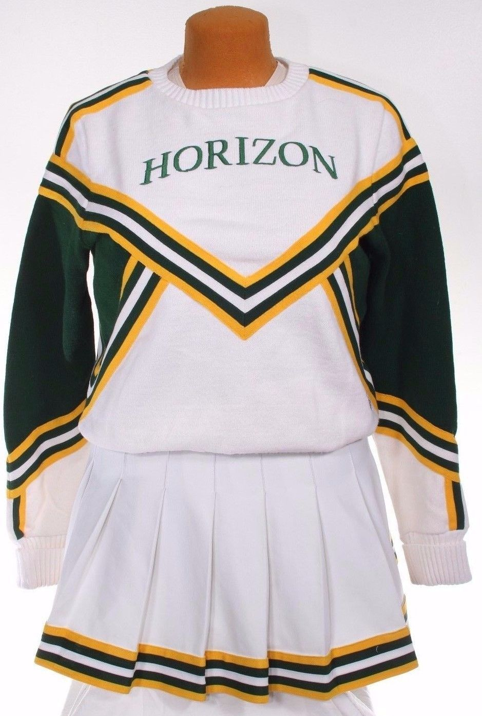Cheerleader cheerleading uniform outfit sweater skirt green white gold  vintage
