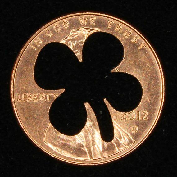 Irish 2 Pence 4 Leaf Clover Cut Coin- Charm Or Keychain Luck Ball Marker