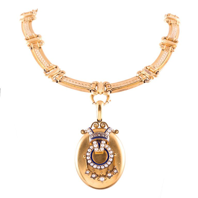 1stdibs.com | Circa 1880 Ultra Fine Victorian Collar with Enamel & Pearl Locket