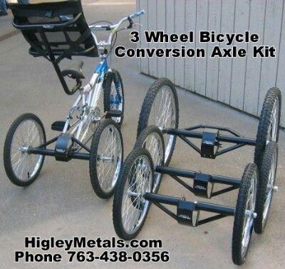 "26/"" Tricycle Trike Conversion Kit Chrome 3 Wheels Bike"