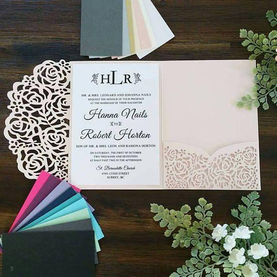 Wedding Invitations Invitation Pocket Blush Invitation Laser