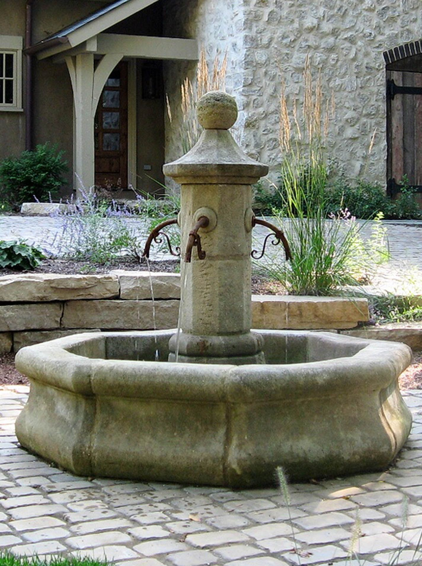 French Limestone Village Fountain French Country