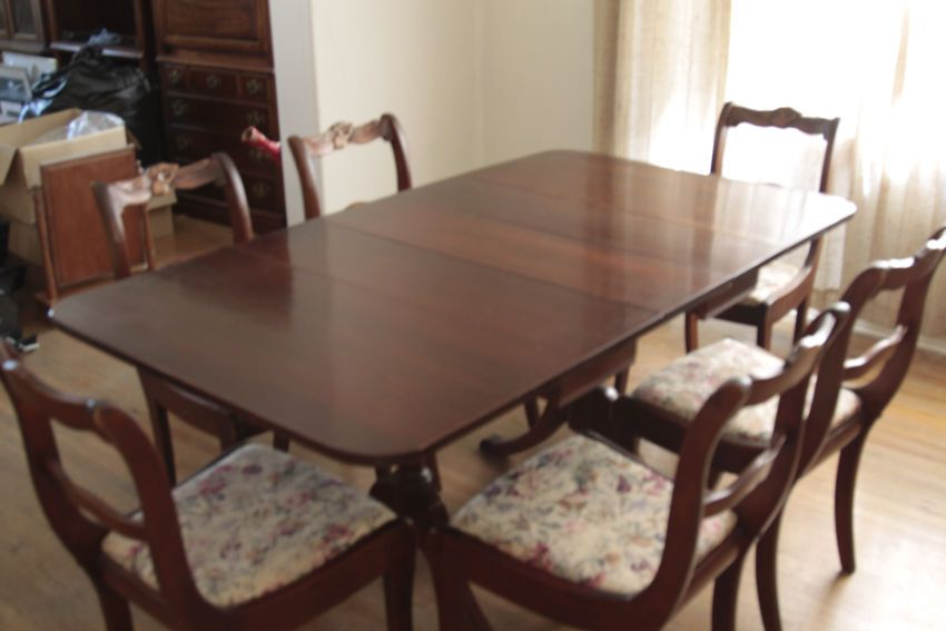 Vintage 1960s Duncan Phyfe Style Dining Table And 6 Chairs Mahogany Luxury Dining Tables Solid Wood Dining Chairs Dining Table