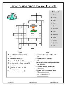 teachers can give students one of these landform crosswords or word finds for students to practice - Fun Sheets For Students