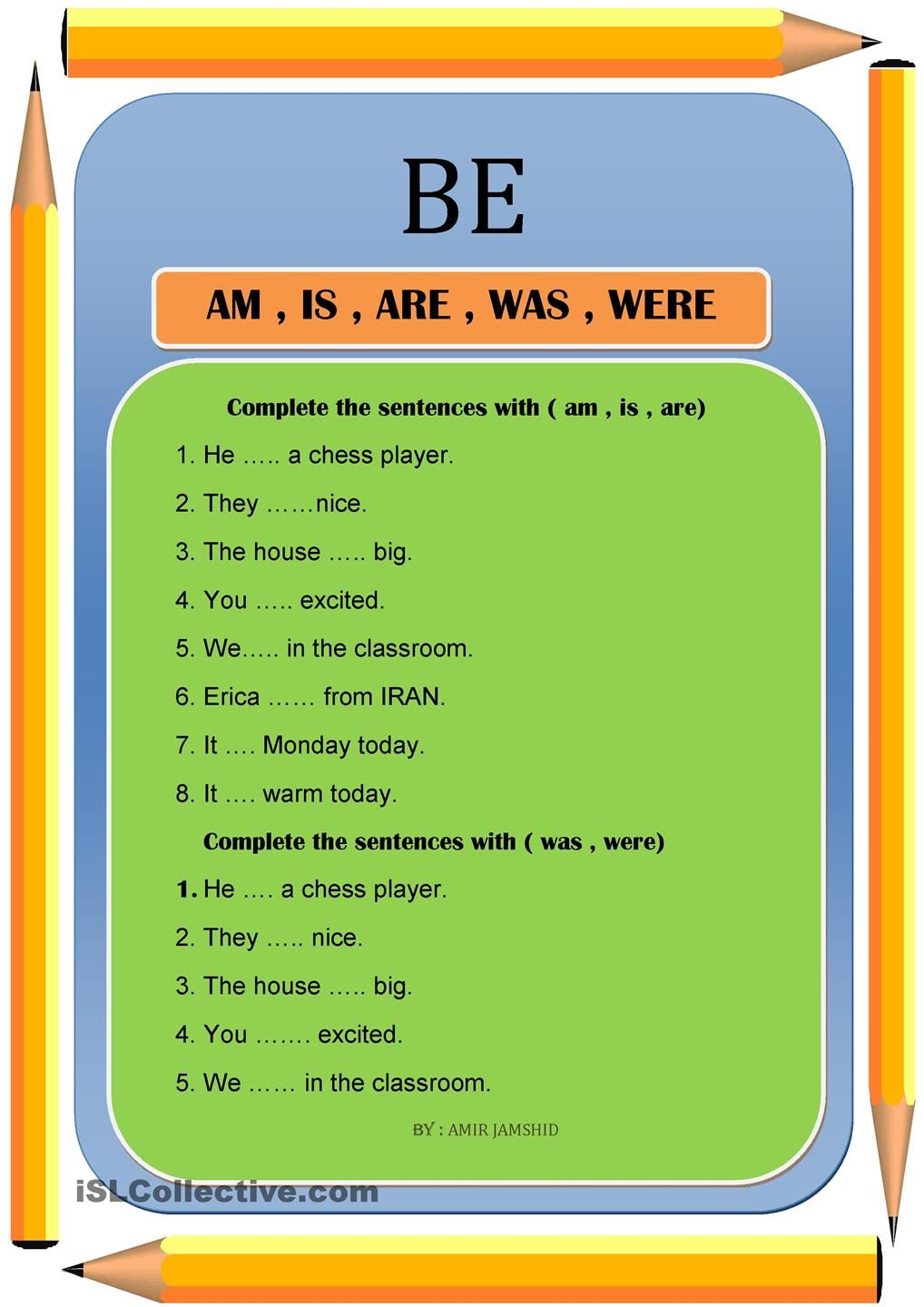 BE ( am , is , are , was , were ) | to be | Pinterest