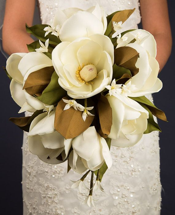 Handmade Southern Silk Magnolia Bouquet By Broochblossombouquet Magnolia Bouquet Magnolias Wedding Bouquet Wedding Bouquets