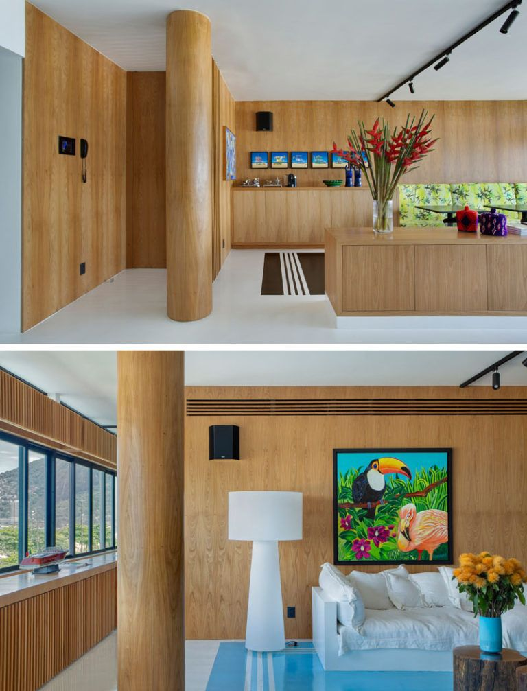Design Detail Concrete Columns Have Been Wrapped In Wood To Match This Apartment S Interior Concrete Column House Interior Decor Wood Columns