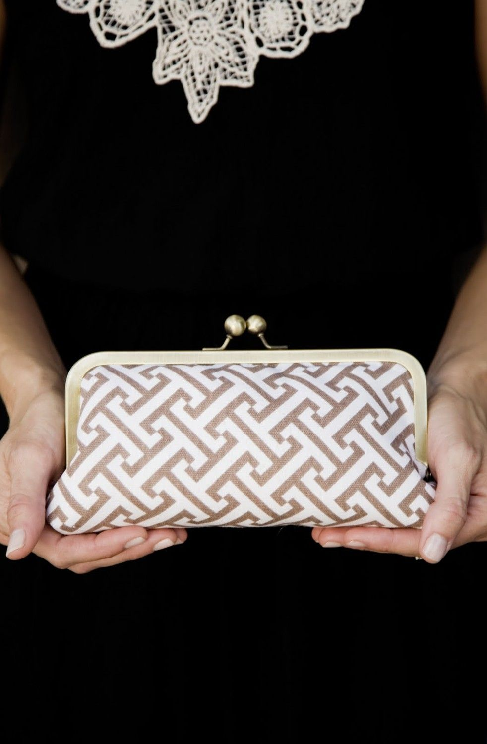 Items similar to geometric genevieve clutch (available in GRAY only) on Etsy