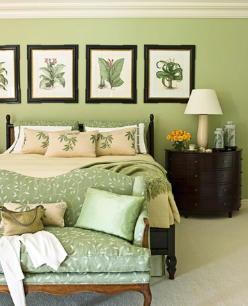 a monochromatic room of green and white that is grounded with the ...