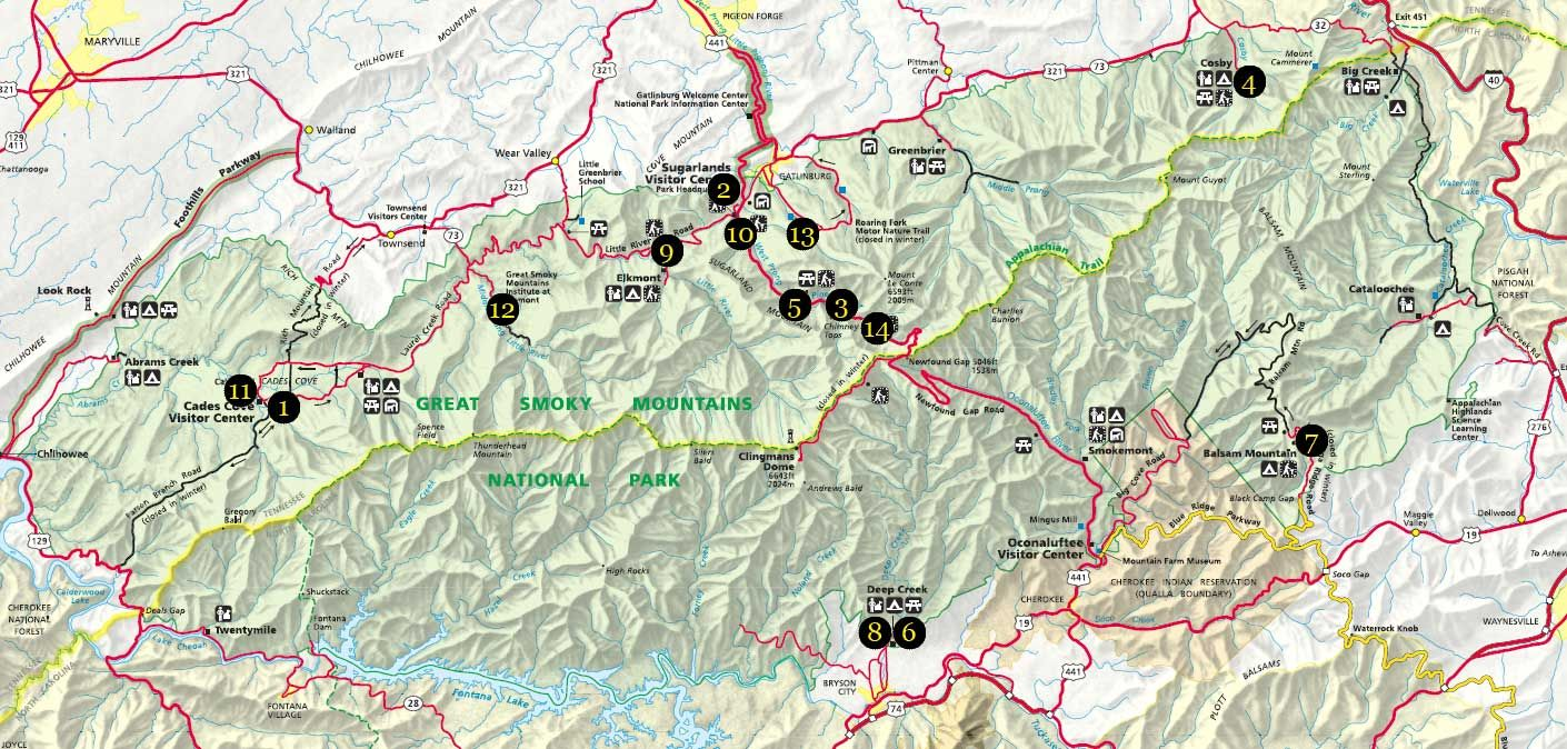 great smoky mountains national park hiking trails map | click map to ...