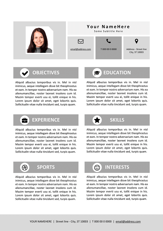Resume Template For Kids  Black And White Version  Modern