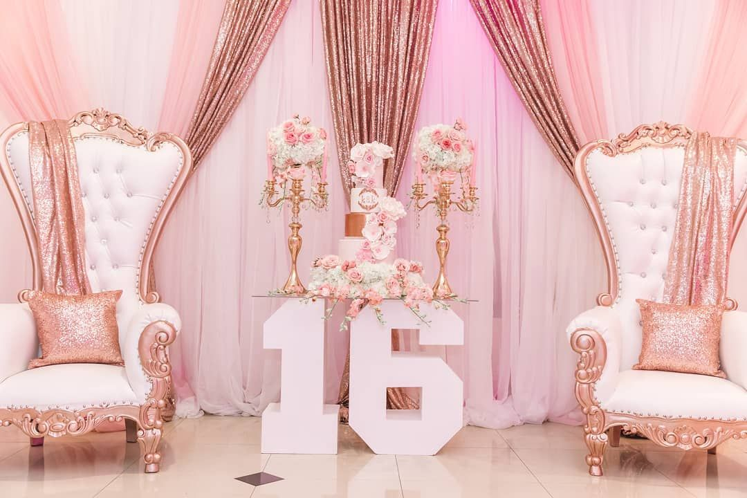 "Glam Occasions on Instagram: ""K&K Sweet 16 Celebration...... Floral by @glam_occasions Throne Chairs by @simplycreative2partyrentals Backdrop Curtains by @perezevents…"" #sweet16cakes"
