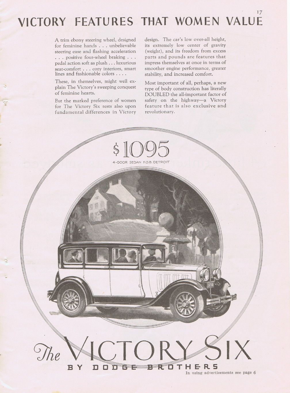 The Victory Six Car by Dodge Brothers vintage ad 1927 (Image1)