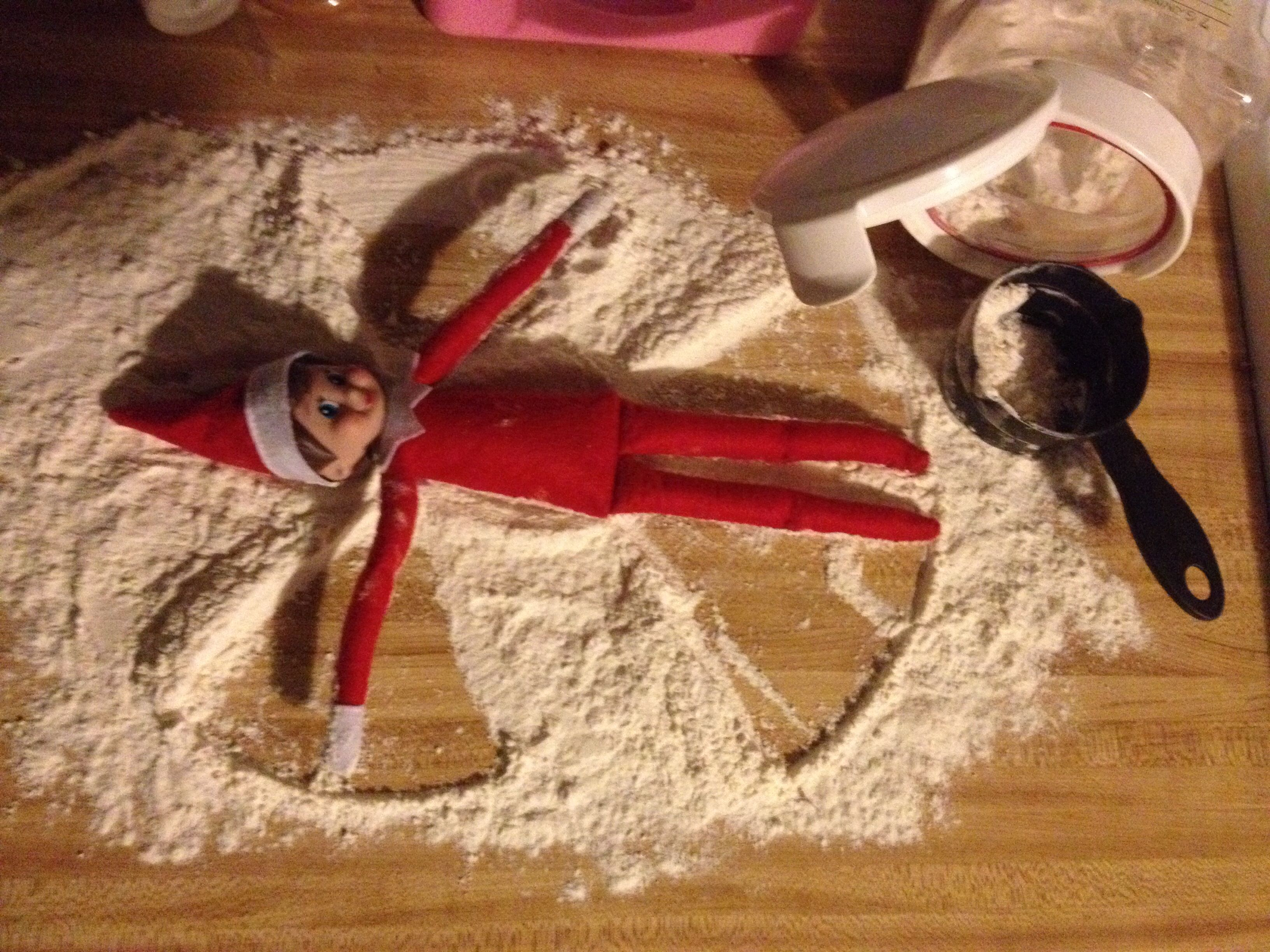 Elf On The Shelf Idea Snow Angle Kitchen Naughty Messy In