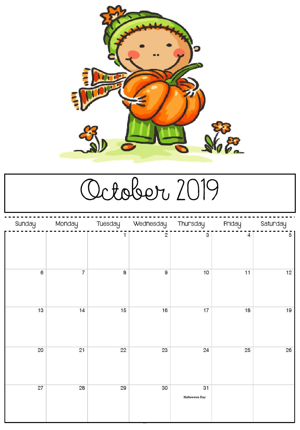 October 2019 Calendar With Images Kids Calendar Calendar