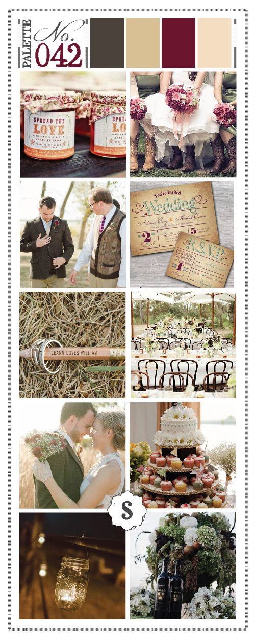 Color Inspired: Rustic Theme Wedding Color Palette.... I have finally found the pallet I love!! This is the one