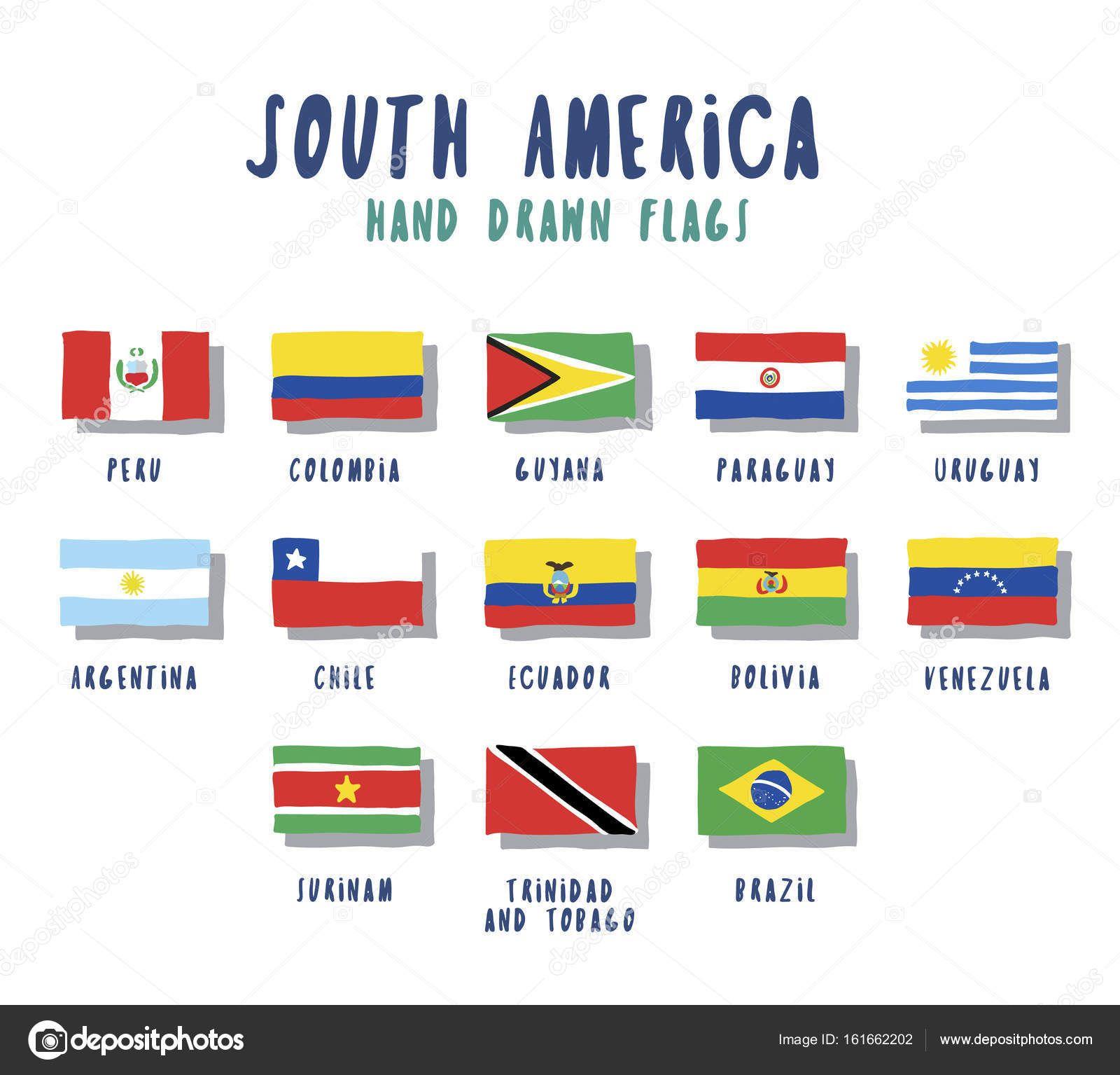 Conjunto De Banderas De Países De América Del Sur Ilustración De Stock 161662202 Banderas De América Latina Banderas America Del Sur